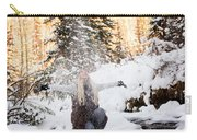 Girl Playing In The Snow In The Woods Carry-all Pouch