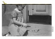 Girl Playing Jacks, C.1930-40s Carry-all Pouch
