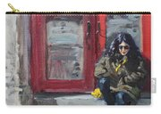 Girl Sitting At Red Doorstep Carry-all Pouch