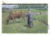 Girl Tending A Cow In Pasture Carry-all Pouch by Camille Pissarro