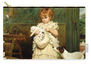 Girl With Dogs Carry-all Pouch by Charles Burton Barber