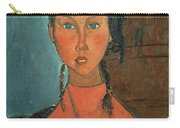 Girl With Pigtails Carry-all Pouch by Amedeo Modigliani