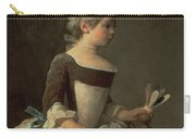 Girl With Racket And Shuttlecock Carry-all Pouch by Jean-Baptiste Simeon Chardin