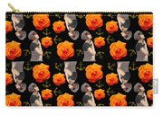 Girl With Roses And Anchors Black Carry-all Pouch