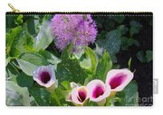 Globe Thistle And Calla Lilies Carry-all Pouch by Corey Ford