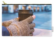 Gloved Hands Holding Coffee Cup Carry-all Pouch