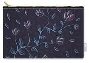 Glowing Blue Abstract Flowers Carry-all Pouch