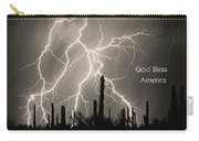 God Bless America Bw Lightning Storm In The Usa Desert Carry-all Pouch by James BO  Insogna