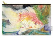 Gold Fish With Purple Carry-all Pouch