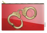 Gold Handcuffs On Red Carry-all Pouch