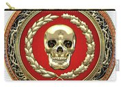 Gold Human Skull Over White Leather  Carry-all Pouch