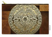 Gold Mayan-aztec Calendar On Brown Leather Carry-all Pouch