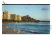 Golden Bliss On The Beach - Waikiki And Diamond Head Volcano Carry-all Pouch