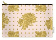 Golden Gold Blush Pink Floral Rose Cluster W Dot Bedding Home Decor Carry-all Pouch