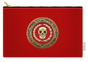 Golden Human Skull On Red   Carry-all Pouch