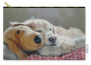 Golden Retriever Dog Sleeping With My Friend Carry-all Pouch by Jennie Marie Schell