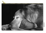Golden Retriever Dog With Master's Slipper Black And White Carry-all Pouch by Jennie Marie Schell