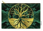 Golden Tree Of Life Yggdrasil On Malachite Carry-all Pouch