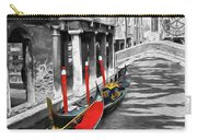 Gondolas On Venice. Black And White Pictures With Colour Detail  Carry-all Pouch