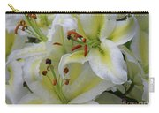 Gorgeous Cluster Of Blooming White Lilies In A Bouquet Carry-all Pouch