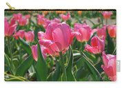 Gorgeous Field Of Flowering Pink Tulips In Bloom Carry-all Pouch