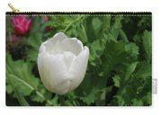 Gorgeous Flowering White Tulip In A Spring Garden Carry-all Pouch