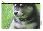 Gorgeous Fluffy Black And White Husky Puppy In Grass Carry-all Pouch