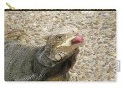 Gray Iguana Eating Lettuce With His Pink Tongue Sticking Out Carry-all Pouch