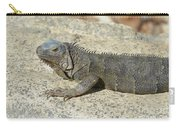 Gray Iguana With Long Talons Sitting On A Rock Carry-all Pouch