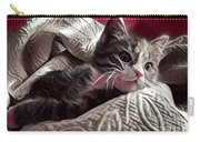 Gray Tabby With White Quilted Throw Carry-all Pouch