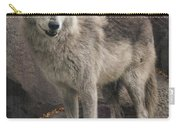 Gray Wolf On A Rock Carry-all Pouch
