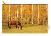 Grazing Horse In The Autumn Pasture Carry-all Pouch