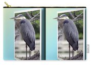 Great Blue Heron - Gently Cross Your Eyes And Focus On The Middle Image Carry-all Pouch