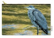 Great Blue Heron On A Golden River Vertical Carry-all Pouch