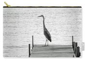Great Blue Heron On Dock - Keuka Lake - Bw Carry-all Pouch