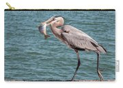 Great Blue Heron Walking With Fish #2 Carry-all Pouch