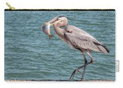 Great Blue Heron Walking With Fish #3 Carry-all Pouch