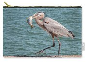 Great Blue Heron Walking With Fish #4 Carry-all Pouch
