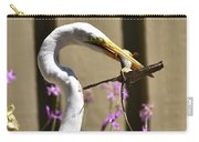Great Egret With Lizard Who Is Holding Onto Wood Carry-all Pouch