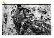 Great Horned Owl In Black And White Carry-all Pouch