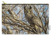 Great Horned Owl In Cottonwood Tree Carry-all Pouch