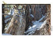 Great Horned Owl On Snowy Branch Carry-all Pouch