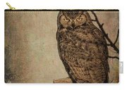 Great Horned Owl With Textures Carry-all Pouch