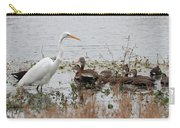 Great White Egret And Ducks Carry-all Pouch