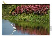 Great White Egret Hunting In A Pond In Mexico With Iguana And Re Carry-all Pouch