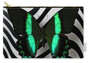 Green And Black Butterfly On Wavey Lines Carry-all Pouch
