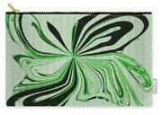 Green And Black Embroidered Butterfly Abstract Carry-all Pouch