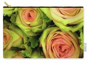 Green And Pink Rose Bouquet Carry-all Pouch