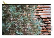 Green And Red - Cypress Branches Over Antique Roman Brick Wall Carry-all Pouch