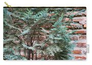 Green And Red - Slender Cypress Branches Over Rough Roman Brick Wall Carry-all Pouch